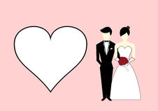 Bride and groom with heart on pink background. Vector Illustrati Royalty Free Stock Photos