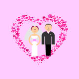 Bride and Groom with hearts. Bride and Groom with love flat vector figures at romance pink background. Classic wedding couple. Traditional bride, groom cartoon Royalty Free Stock Photo