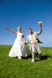 Bride and groom on the hill Royalty Free Stock Image