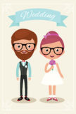 Bride and groom hipsters. Newlyweds bride and groom in wedding dress hipsters Royalty Free Stock Images