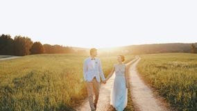 Bride and groom hold their hands, look at each other with love walk countryside road sunset light stock footage