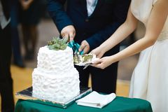 Bride and groom hold their hands together cutting wedding cake with a white cream and a green flower.  Stock Photography