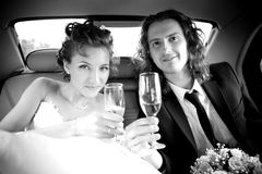 Bride and groom is holding a champagne Royalty Free Stock Photo