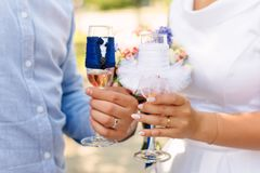 Bride and groom holding champagne glasses. Wedding couple. Royalty Free Stock Photo