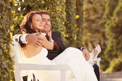Bride and groom holding each other. Lovely day Stock Photos