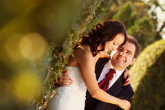 Bride and groom holding each other. Lovely day Royalty Free Stock Image