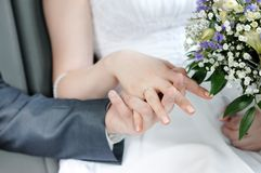 Bride and groom holding each others hands Royalty Free Stock Photos