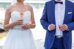 Bride and groom holding a glass of champagne Royalty Free Stock Photos