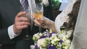 Bride and groom holding glasses of champagne. And clink their glasses. Close-up stock video