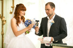 Bride and groom holding glasses of champagne Royalty Free Stock Photography