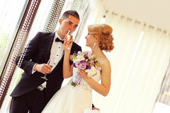Bride and groom holding glasses of champagne. Sunny lovely day Royalty Free Stock Image