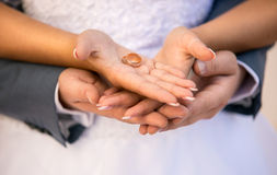 Bride and groom holding golden wedding rings on hands Royalty Free Stock Image
