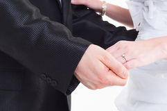 Bride and groom holding hand. Wedding shot stock photography