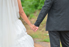 Bride and groom holding hand Royalty Free Stock Photo