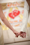 Bride and groom holding hand waiting for wedding Stock Photography