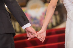Bride and groom holding hand waiting for wedding Royalty Free Stock Photography
