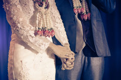 Bride and groom holding hand waiting for wedding ceremony Royalty Free Stock Images