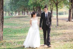 Bride and groom holding hand and walk in the garden Royalty Free Stock Photo