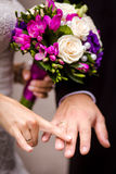 Bride and groom holding hands Stock Image