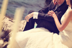 Bride and groom holding hands. Capture of Bride and groom holding hands Royalty Free Stock Photography