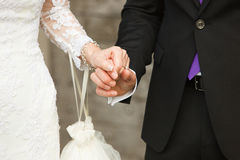 Bride and groom holding hands Royalty Free Stock Photography
