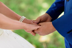 The bride and groom holding hands Royalty Free Stock Photos