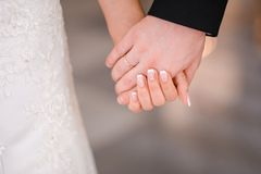 Bride and groom holding hands Royalty Free Stock Images