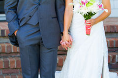 Bride Groom Holding Hands stock image