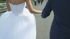 Bride and groom holding hands during walk stock video footage