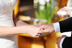 Bride and groom holding hands on the wedding Royalty Free Stock Image