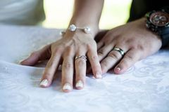 Bride and groom holding hands during the wedding ceremony Royalty Free Stock Photo