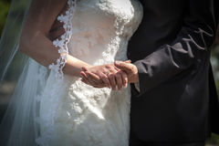 Bride and groom holding hands on the wedding photo session Royalty Free Stock Photo