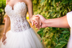 Bride and groom holding his hands Royalty Free Stock Photos