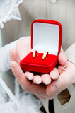 Bride and groom holding rings Royalty Free Stock Image