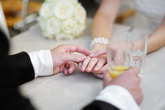 Bride and groom holding their hands Royalty Free Stock Photos