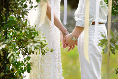 Bride and groom holding their hands Royalty Free Stock Image