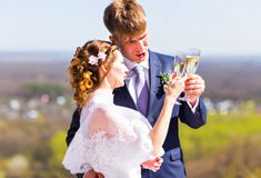 Bride and groom holding wedding champagne glasses Royalty Free Stock Photos