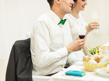 Bride and groom holding wedding champagne glasses Royalty Free Stock Photo