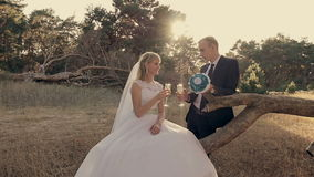 Bride and groom holding wedding champagne glasses stock footage