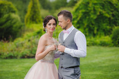 Bride and groom holding wine glasses Royalty Free Stock Images