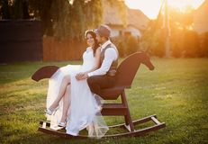 Bride and groom with a horse Royalty Free Stock Image