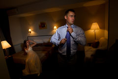 Bride and groom in hotel Stock Photo