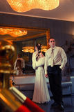 Bride and groom  in hotel Stock Photography
