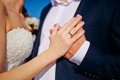 Bride and groom hug close to each other Royalty Free Stock Photo