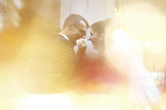 Bride and groom hugging in the city Royalty Free Stock Photo