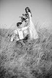 Bride and groom hugging at the wedding in nature. Royalty Free Stock Images