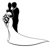 Bride and Groom Husband and Wife Wedding Silhouette. Wedding concept of bride and groom couple in silhouette, in a white bridal dress gown holding a floral Stock Images