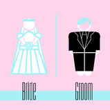 Bride and groom icon on background Royalty Free Stock Photo