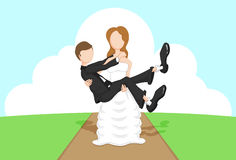 Bride & Groom. Illustration of a bride carrying the groom Royalty Free Stock Image
