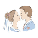Bride and groom illustration Royalty Free Stock Photography